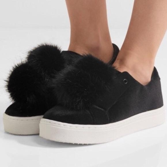 1495a0ee977d  Sam Edelman  Black Leya Pom-Pom Sneakers